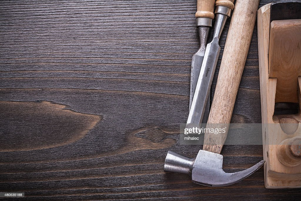 Copy space image of joiner's tools on vintage wooden : Stock Photo