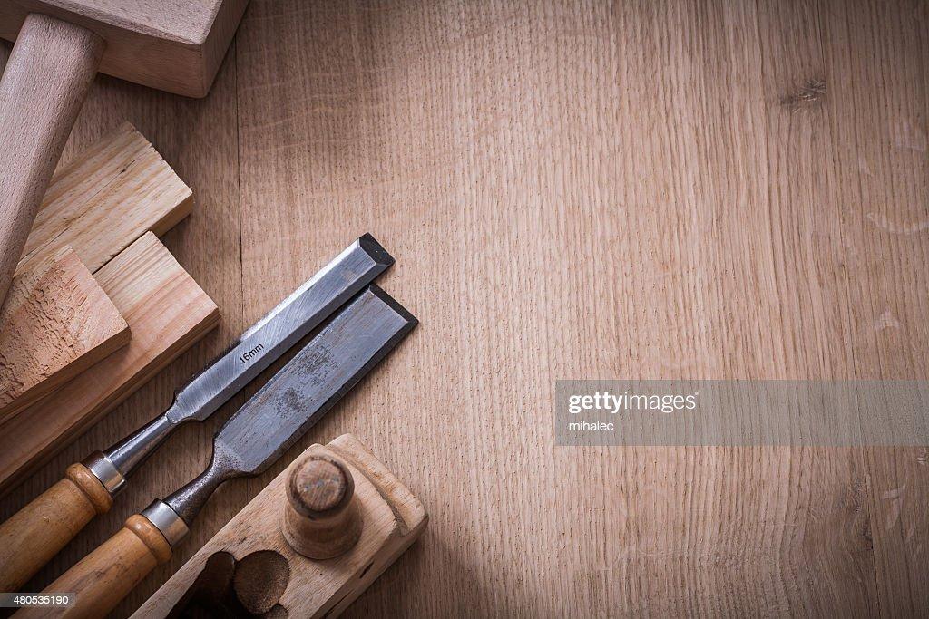 Copy space image of lump hammer planer metal firmer chisels : Bildbanksbilder