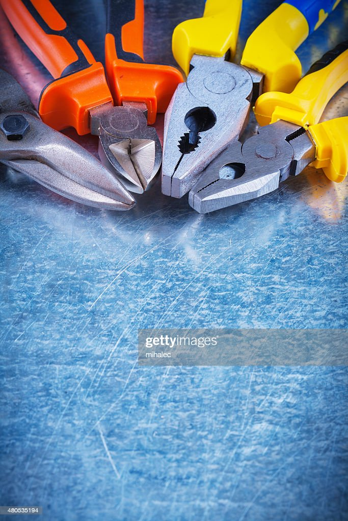 Copy space image of tin snips gripping tongs nippers on : Stock Photo