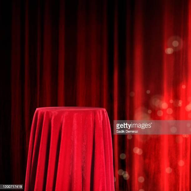 copy space of elegant red velvet pedestal - velvet stock pictures, royalty-free photos & images
