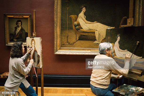 Copyists duplicate paintings in the Louvre A 1794 self portrait by French painter Jacques Louis David as well as David's 1800 tableau entitled Madame...
