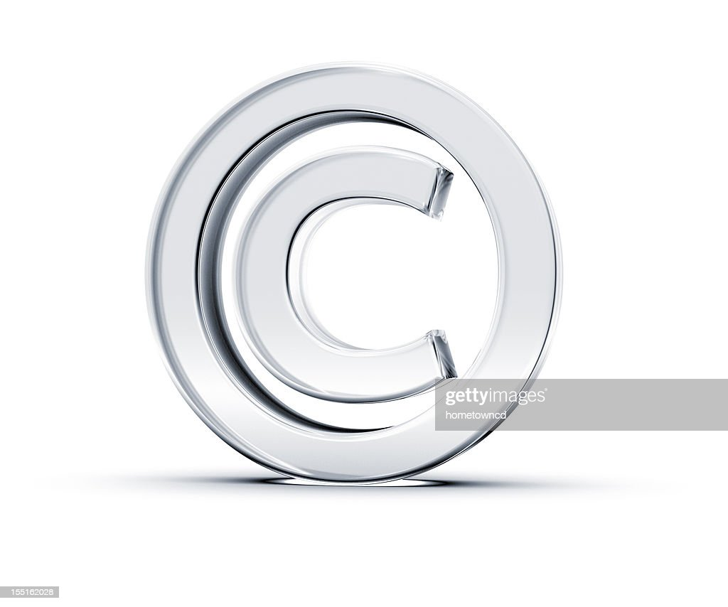 A copyright symbol in 3D on a white background : Stock Photo