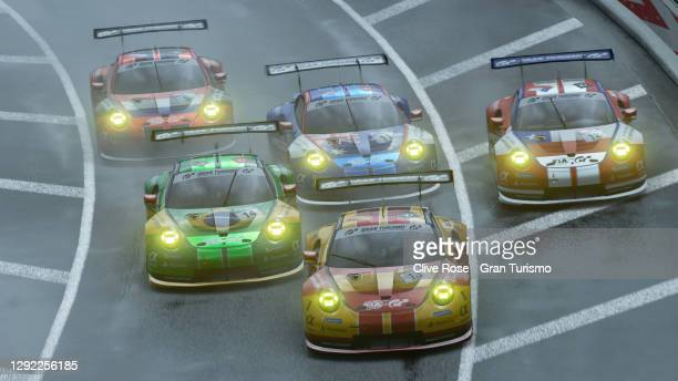 Coque Lopez of Spain leads the chasing group during the Nations Cup race two of the FIA Gran Turismo World Tour 2020 Finals run at the virtual Tokyo...