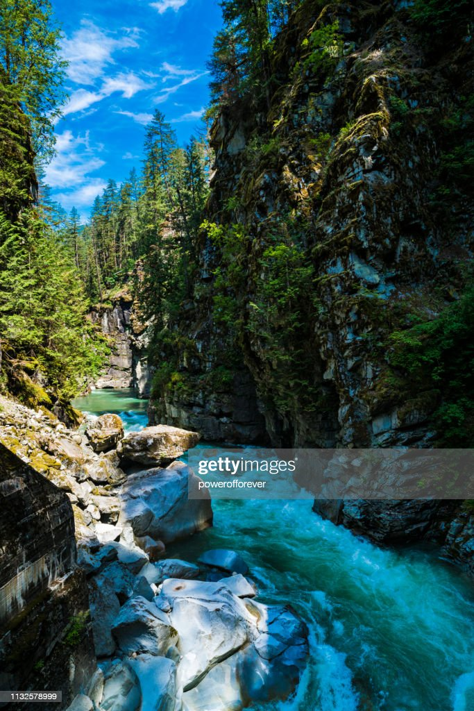 Coquihalla River at Coquihalla Canyon Provincial Park in the Canadian Rocky Mountains of British Columbia, Canada : Stock Photo