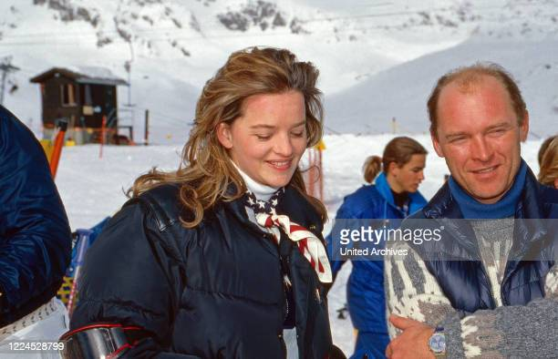 Cora Baroness of Saurma and Carl Eduard von Bismarck at their ski vacation in Sankt Moritz Switzerland 1996