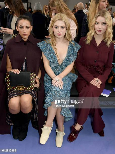 Cora Corre Anais Gallagher and Anya Taylor Joy attend the Mulberry Winter '17 LFW show at The Old Billingsgate on February 19 2017 in London England