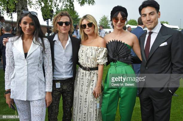 Cora Corre, Dougie Poynter, Kara Rose Marshall, Betty Bachz and Thomas Price attend Ladies Day of the 2017 Investec Derby Festival at The Jockey...