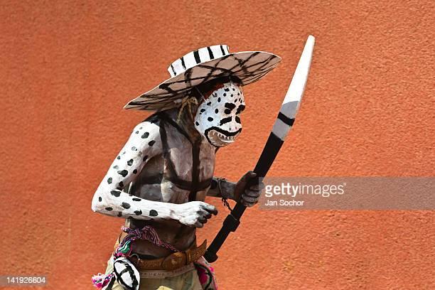 Cora Indian man wearing a demon mask runs during the religious ritual celebration of Semana Santa in Jesús María Nayarit Mexico 21 April 2011 The...