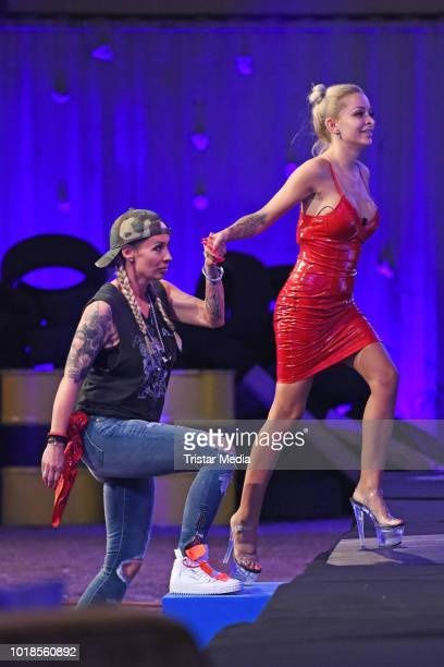 Cora Schumacher and Katja Krasavice attend the first live show of 'Promi Big Brother 2018' at MMC Studios on August 17, 2018 in Cologne, Germany.