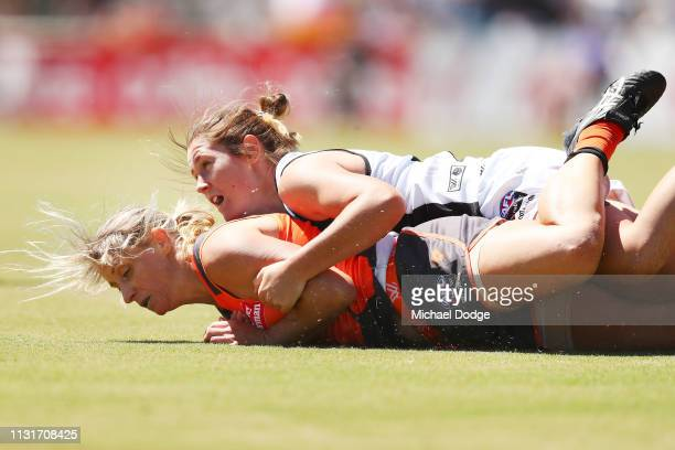 Cora Staunton of GWS gets tackled during the AFLW Rd 4 match between Collingwood and GWS at Morwekk Recreation Reserve on February 24 2019 in...