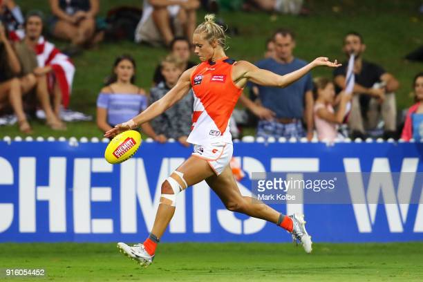 Cora Staunton of the Giants kicks at goal during the round 20 AFLW match between the Greater Western Sydney Giants and the Carlton Blues at Drummoyne...