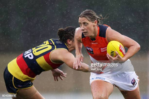 Cora Staunton of the Giants looks upfield during the round four AFLW match between the Greater Western Sydney Giants and the Adelaide Crows at...