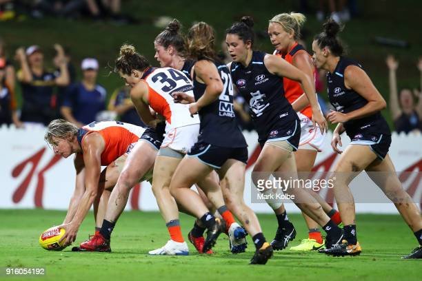 Cora Staunton of the Giants wins the ball during the round 20 AFLW match between the Greater Western Sydney Giants and the Carlton Blues at Drummoyne...