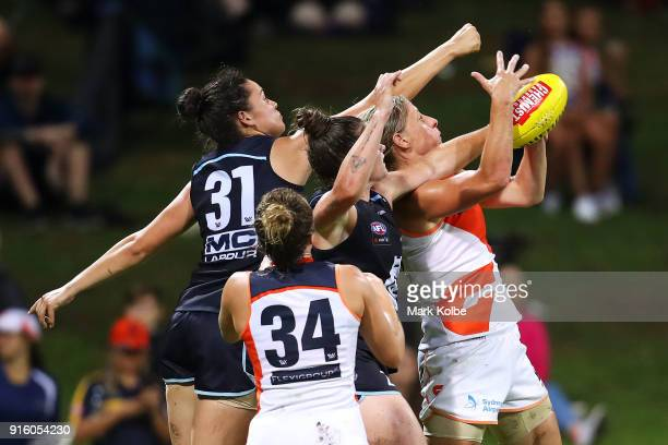 Cora Staunton of the Giants wins the ball under pressure from the Blues defence during the round 20 AFLW match between the Greater Western Sydney...