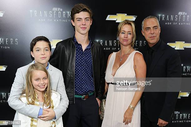 Cora Welliver Quinn Welliver Eamon Welliver Jose Stemkens and actor Titus Welliver attendsthe New York Premiere of Transformers Age Of Extinction at...