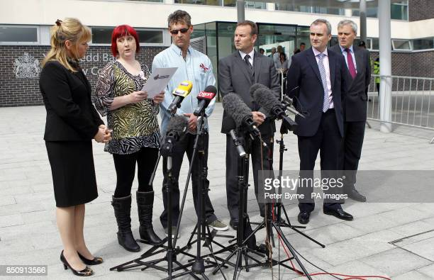 Coral and Paul Jones the parents of April Jones give a statement outside Mold Crown Court after Mark Bridger was given a whole life sentence for the...