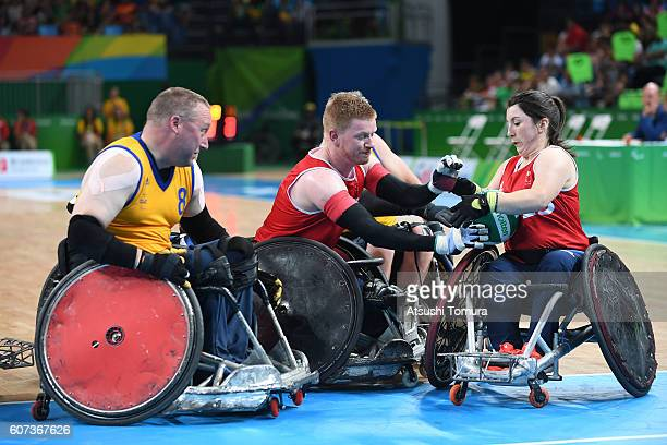 Coral Batey of Great Britain in action in the wheelchair rugby 5th6th classification on day 10 of the Rio 2016 Paralympic Games at on September 17...