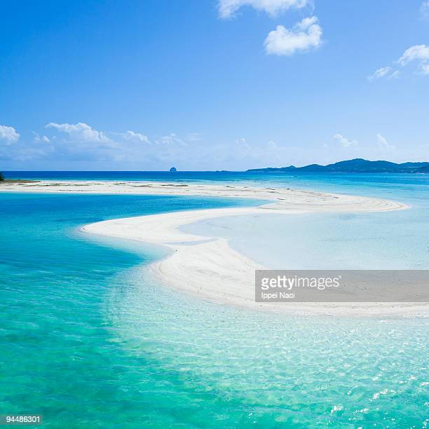Coral cay beach and blue clear water of Okinawa
