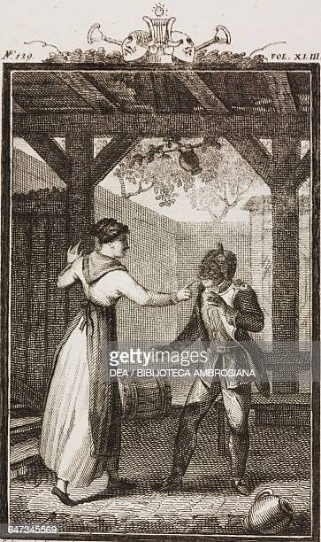 Coral criticising Harlequin for choosing to become a soldier engraving by Antonio Viviani from a drawing by G Steneri from The Military Lover Act I...
