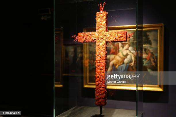 A coral cross by the artist Jan Fabre in the Red Gold exhibition in the Capodimonte museum in Naples