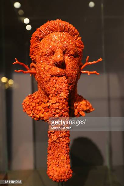 A coral head with a long tongue by the artist Jan Fabre in the Red Gold exhibition in the Capodimonte museum in Naples
