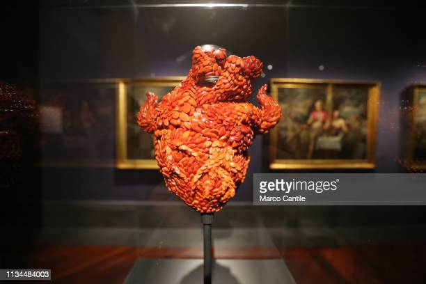 A coral heart by the artist Jan Fabre in the Red Gold exhibition in the Capodimonte museum in Naples