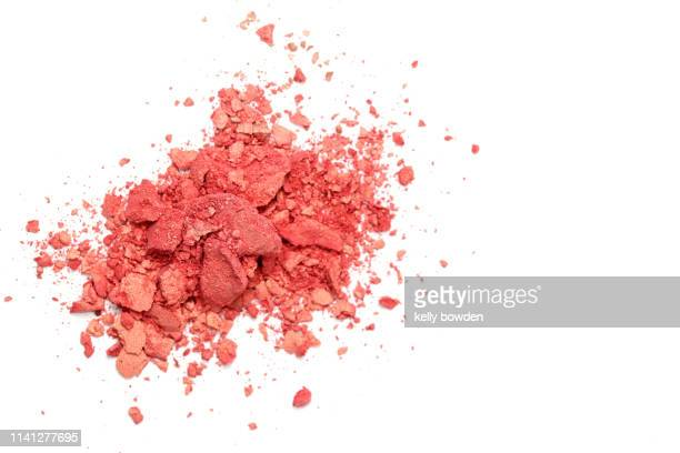 coral make up powder eyeshadow - kelly bowden stock pictures, royalty-free photos & images