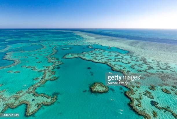 coral reef, heart reef, part of hardy reef, outer great barrier reef, queensland - great barrier reef aerial stock pictures, royalty-free photos & images