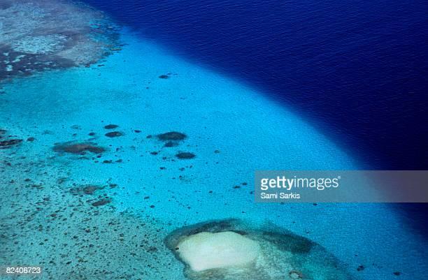 Coral reef in Noumea lagoon, aerial view
