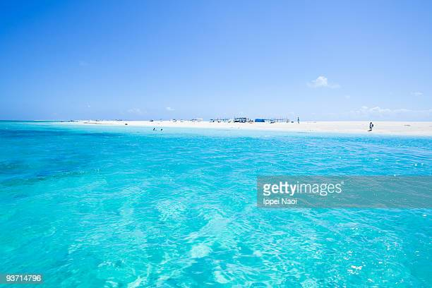 Coral sand cay beach and clear blue water, Okinawa