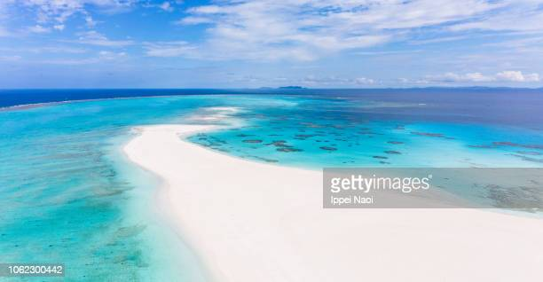 Coral sand cay from above, Kume Island, Okinawa, Japan