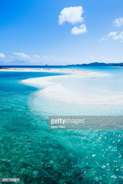 Coral sand cay with clear tropical water, Okinawa, Japan