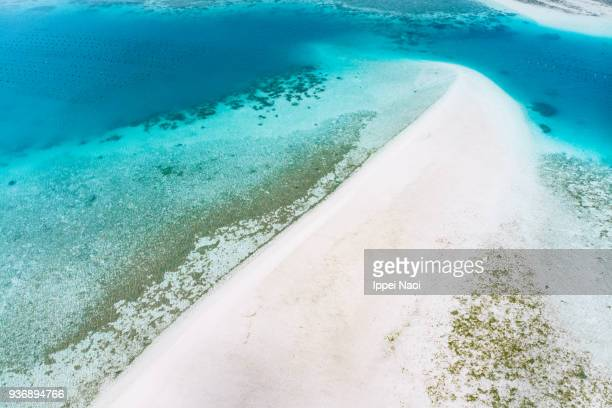 Coral sand cay with tropical water from above, Ishigaki Island, Japan