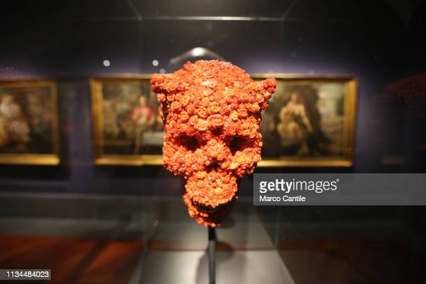 A coral skull by the artist Jan Fabre in the Red Gold exhibition in the Capodimonte museum in Naples