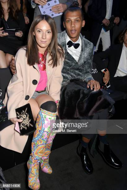 Coralie Barbier and Stromae attend the Emporio Armani Show on September 17 2017 in London England