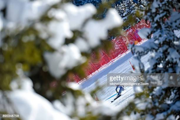 Coralie Frasse Sombet of France in action during the Audi FIS Alpine Ski World Cup Women's Giant Slalom on December 19 2017 in Courchevel France