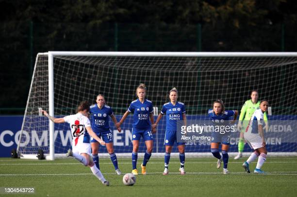 Coral-Jade Haines of Crystal Palace takes a free-kick during the Barclays FA Women's Championship match between Leicester City Women and Crystal...