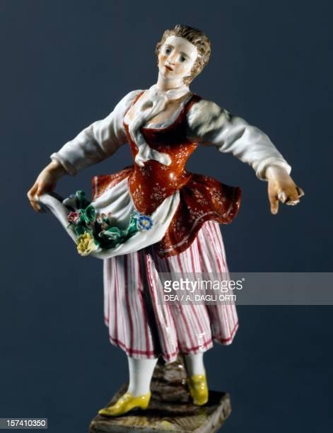 Corallina, character from Commedia dell'Arte, 1760-1765, polychrome porcelain, height 12.5 cm, Ginori manufacture, Doccia, Sesto Fiorentino, Tuscany....