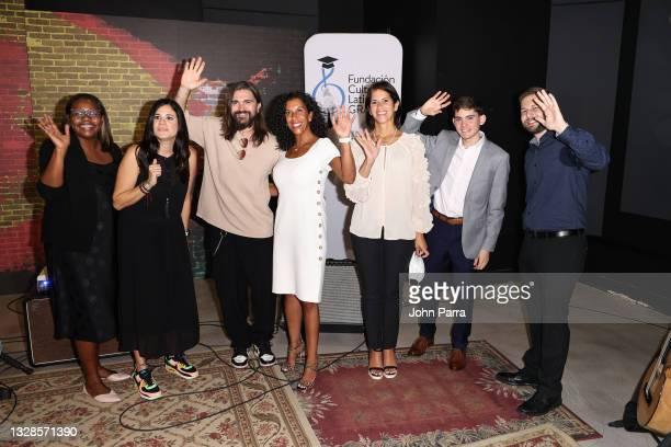 Coralys Julián, Nannette Vélez, Juanes, Becky Villaescusa, Xavier Cintrón, Kevin Forte and Tanya Ramos-Puig attend the Juanes Scholarship presented...