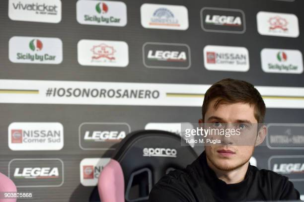 Corantin Fiore answers questions during his presentation as new player of US Citta' di Palermo at Carmelo Onorato training session on January 11 2018...