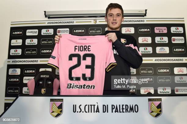 Corantin Fiore poses during his presentation as new player of US Citta' di Palermo at Carmelo Onorato training session on January 11 2018 in Palermo...