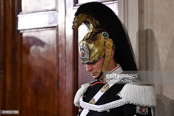 A 'Corazzieri' a cuirassier regiment part of the honor guard of the Italian presidency stands guard during the first day of consultations of...