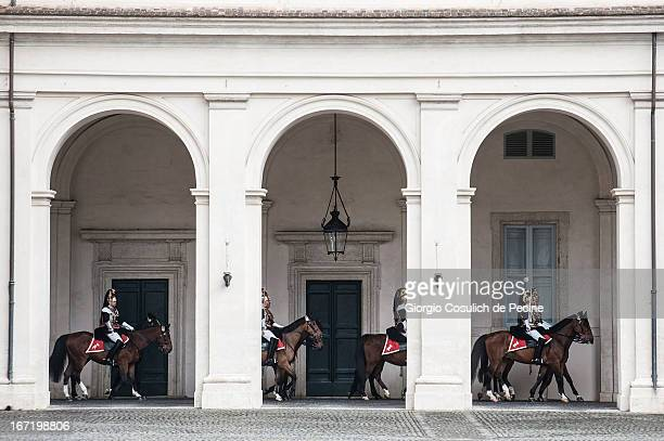 Corazzieri on horseback arrive to take place in the guard of honor prior the arrival of the newly elected President Giorgio Napolitano at Palazzo del...