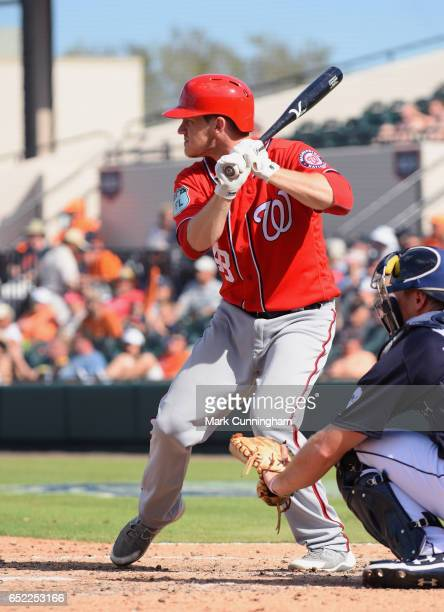 Corban Joseph of the Washington Nationals bats during the Spring Training game against the Detroit Tigers at Publix Field at Joker Marchant Stadium...