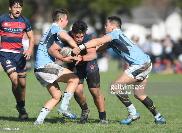 Corban Kireka of Hastings Boys High School looks for a gap during the Schools Super 8 match between Hastings Boys High and Napier Boys High at...