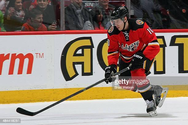 Corban Knight of the Calgary Flames skates against the Ottawa Senators at Scotiabank Saddledome on March 5 2014 in Calgary Alberta Canada The Flames...