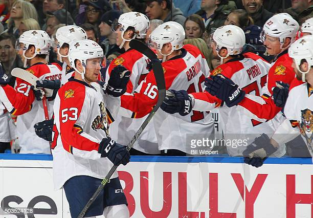 Corban Knight of the Florida Panthers celebrates his goal during their 51 victory against the Buffalo Sabres in an NHL game on January 5 2016 at the...