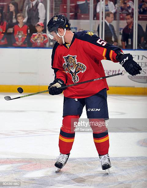 Corban Knight of the Florida Panthers flips a puck on his stick prior to the start of the game against the New York Rangers at the BBT Center on...