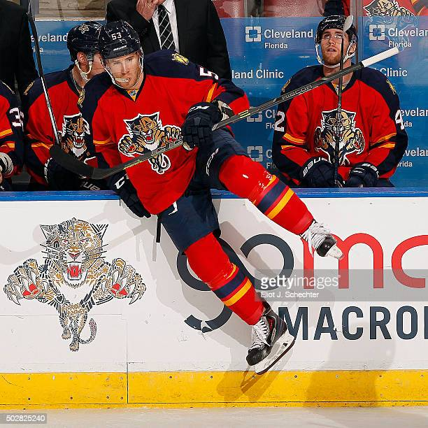 Corban Knight of the Florida Panthers jumps back in for a shift against the Ottawa Senators at the BBT Center on December 22 2015 in Sunrise Florida