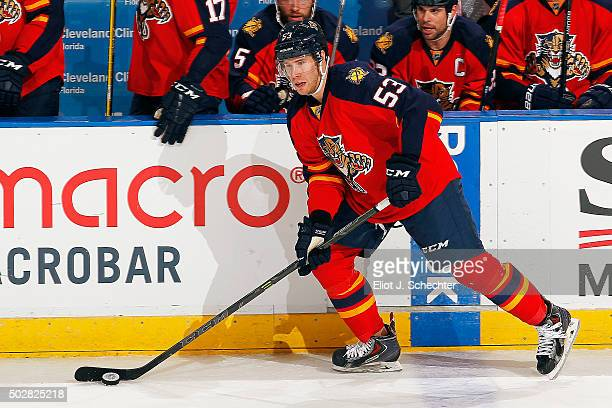 Corban Knight of the Florida Panthers skates with the puck against the Ottawa Senators at the BBT Center on December 22 2015 in Sunrise Florida